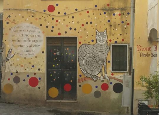 un particolare dei muri d'autore a salerno